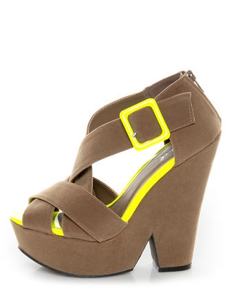 Qupid Burke 52 Taupe Velvet and Neon Yellow Platform Wedges $36.00