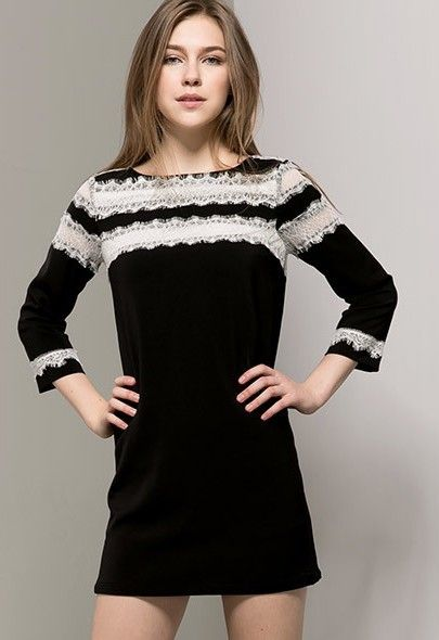 Black Long Sleeve Contrast Lace Straight Dress