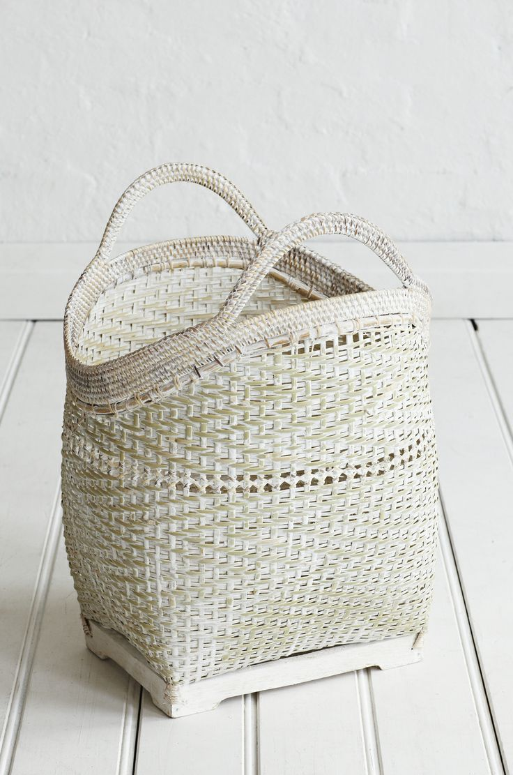 White Washed Large Basket from The Family Love Tree.