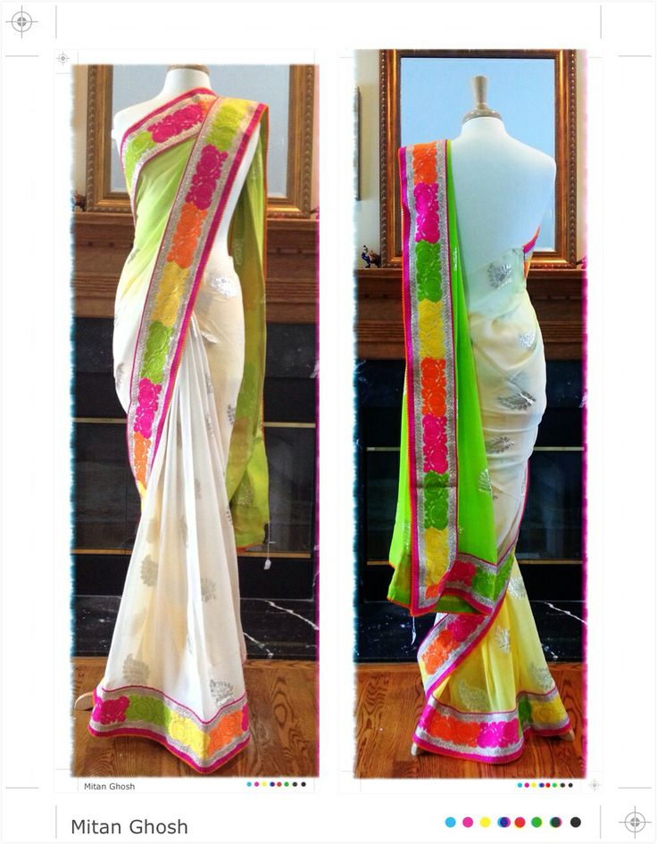 Chiffon white sari with multicolor border...Neon colors are in again..This sari is perfect party wear...In this pic, blouse is not shown, it will look great with any color from border...