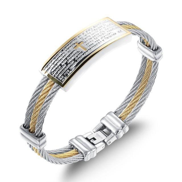 Оптовая 2016 горячие продажа мода изящных ювелирных изделий мужчины креста титана стали браслет ремешок золотые браслеты мужчина аксессуары LGH759