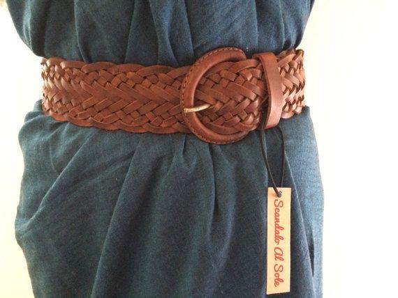 WIDE LEATHER BELT,  €34.99 braided leather belt, wide belt by ScandaloAlSole
