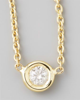 18k Yellow Gold Single Diamond Necklace by Roberto Coin at Neiman Marcus.