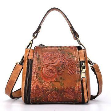 Brenice New Retro Genuine Leather Bucket Handbag Hand Embossed Craft Flower Crossbody bag