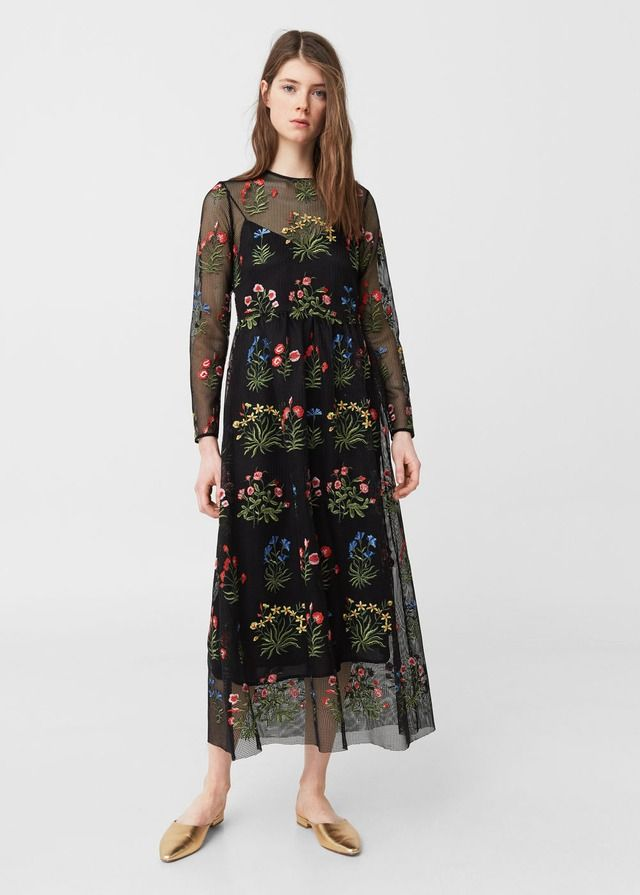 Embroidered Mesh Dress by Mango
