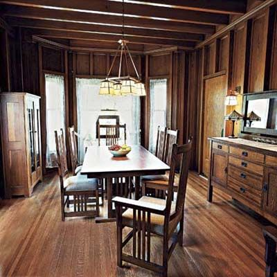 I like the light in this dining room with recessed woodwork panel walls of this victorian and craftsman style cottage