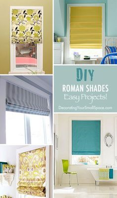 DIY Roman Shades • Easy he near perfect window treatment for a small home just might be roman shades… they are a simple look that minimizes clutter at the windows, the fabric softens harsh lines creating a smoother overall look to a room, and they can be customized to either blend in with the walls to expand space, or add a punch of color for personality.