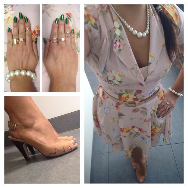 Nude flowery dress from In Love With Fashion, nude peep-toe slingbacks from Topshop, necklace from Accessorize, rings from Forever 21, H&M and Primark.