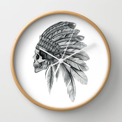 Indian Chief Skull Wall Clock by NZFINCH | Society6