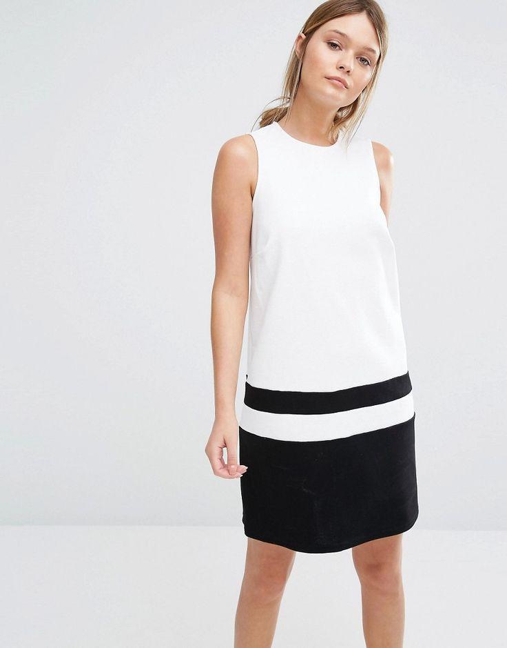 Image 1 ofNew Look Colour Block Hem Shift Dress