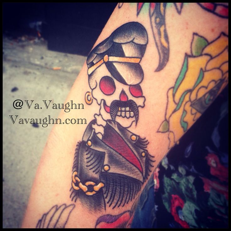 Leather daddy based on an old school traditional biker for Kati vaughn tattoo