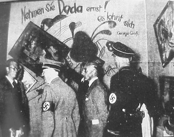 Adolf Hitler and Adolf Ziegler inspect the installation by Willrich and Hansen of the Degenerate Art Show, 1937.
