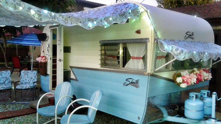 Vintage trailer awnings & other glamping fluff by Pink Flamingo Awnings,