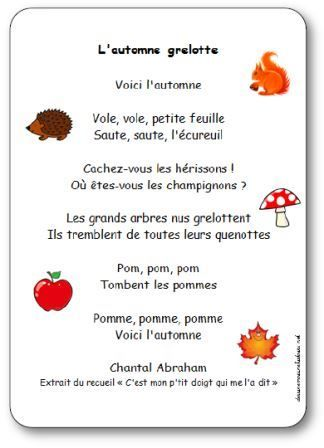 French fall-themed nursery rhyme | Paroles de la comptine L automne grelotte : Voici l'automne, Vole, vole, petite feuille, Saute, saute, l'écureuil, Cachez-vous les hérissons !