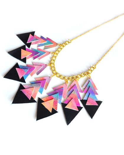Geometric Chevron Leather Bib Necklace - boo and boo factory
