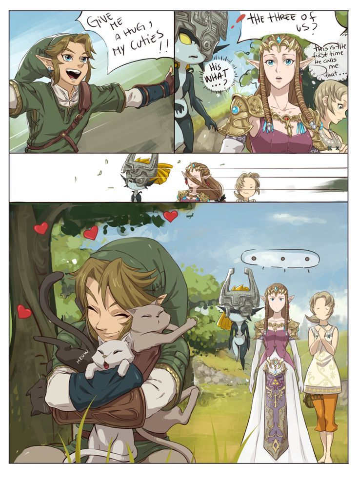 "The Legend of Zelda: Twilight Princess / Link, Princess Zelda, Midna, and Ilia / ""Hugs?"" - Work by Hunter x Hunter ♥ The Legend of Zelda (2):"