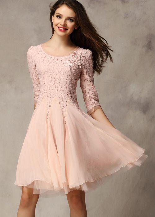 Pink Half Sleeve Lace Bead Chiffon Dress 26.67