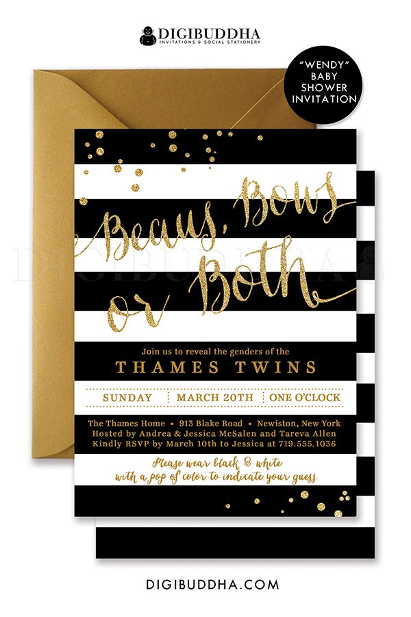 Twins Gender Reveal Elegant black and white with gold ...