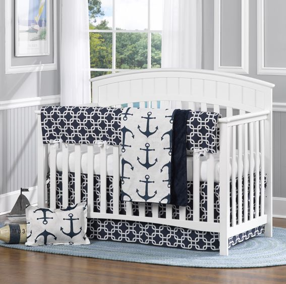 Project Nursery - Navy Metro with Anchors by Liz and Roo. Beautiful nautical themed nursery bedding. Made in American to ensure quality and safety. Everything you  need for bumper-free baby bedding. Shop Liz and Roo now! www.lizandroo.com