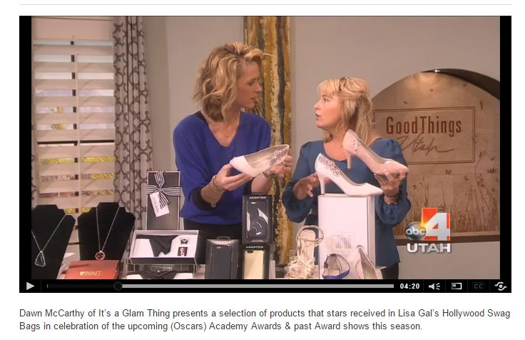We're featured on Good Things Utah as part of Hollywood Swag Bag's OSCAR® gift bags for talents and nominees at the Four Season Hotel in Beverly Hills.  If you want to get your own OSCAR® style heels, head on to our online store at jakii.com. Or if you're in Australia you can visit @Through the White Door and @Cathleen Jia.  You can watch the whole video here: http://www.good4utah.com/gtu/story/d/story/what-is-in-the-celeb-oscar-swag-bags/21790/naivxE6GnEWyTMPkJEUN2Q