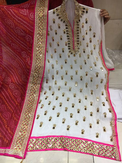 Rajasthani Gota Patti work Suits: Georgette gota patti and mirror work online for or...
