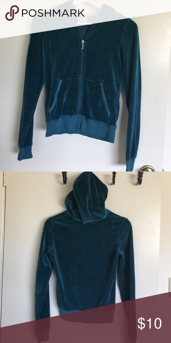 Juicy M teal velour zip up hoodie Classic Juicy Couture velour track hoodie Juicy Couture Tops Sweatshirts & Hoodies