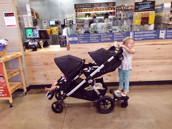 Mommy Must-Haves: City Select double stroller with second seat attachment, toddler glider board, and parent console. www.madisonvining.com