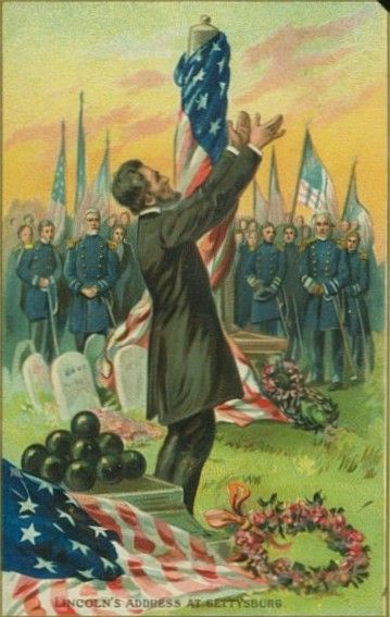 This vintage Lincoln Birthday postcard shows him delivering the Gettysburg address