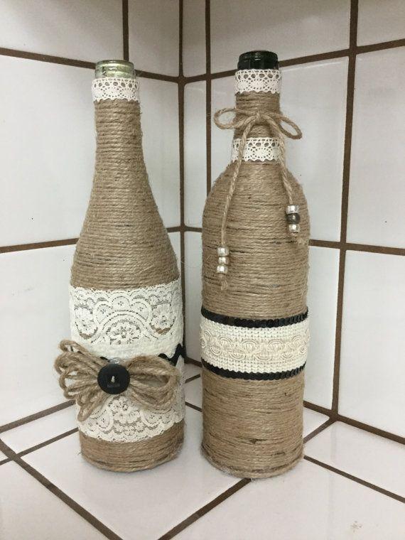 Shabby Chic Wine Bottles by MyBarginGifts on Etsy