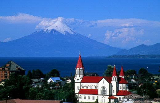Puerto Varas, Chile- Sacred Heart of Jesus Church with Osorno Volcano and Llanquihue Lake in the background.