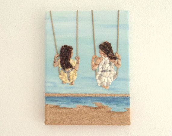 Acrylic Painting, Beach Artwork with Seashells & Sand, Two Girls on Swings in Seashell Mosaic and Sand, Mosaic Art, 3D Art Collage, Home Decor, Wall Decor #ArtworkwithSeashells #mosaiccollage #seashellmosaic #homedecor #walldecor #3D