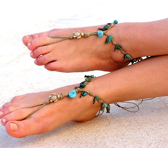 Barefoot Sandals Barefoot Beach Jewelry Seashells by SoftCrystal, $22.00