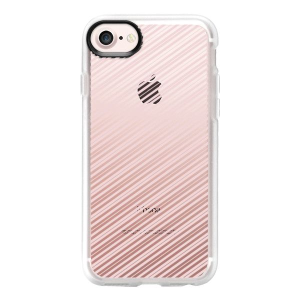 Chic vintage elegant white rose pink stripes - iPhone 7 Case And Cover ($40) ❤ liked on Polyvore featuring accessories, tech accessories, iphone case, clear iphone case, iphone cases, pink iphone case, apple iphone case and vintage iphone case
