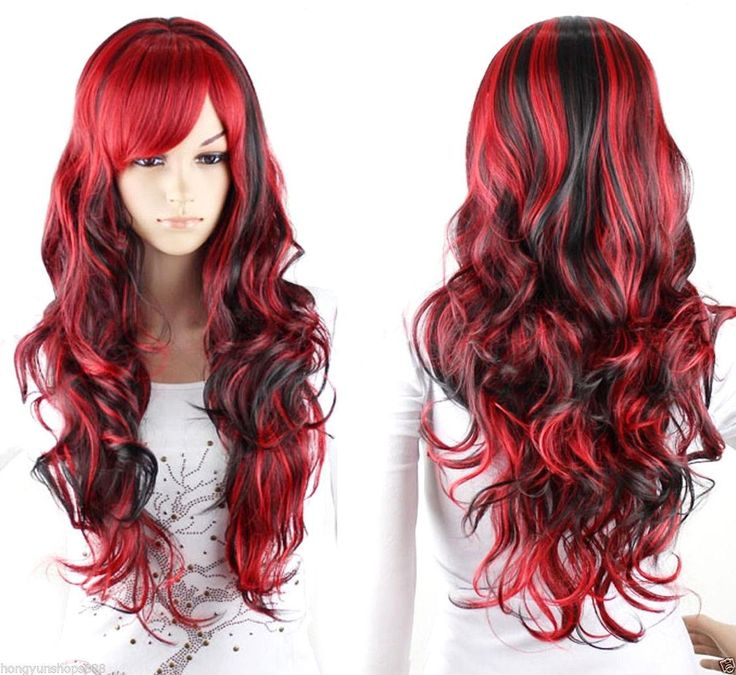 New Fashion Black Mix Red Wig Long Wavy Curly Hair Women Cosplay Full Wigs Long Blonde Cosplay Wig Cosplay Commissions From Shen Shop999, $18.09| Dhgate.Com