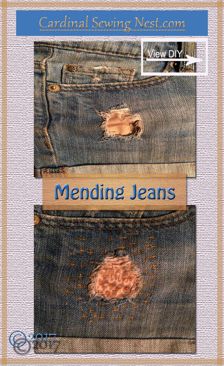 Patched jeans. Visibly mending jeans by hand