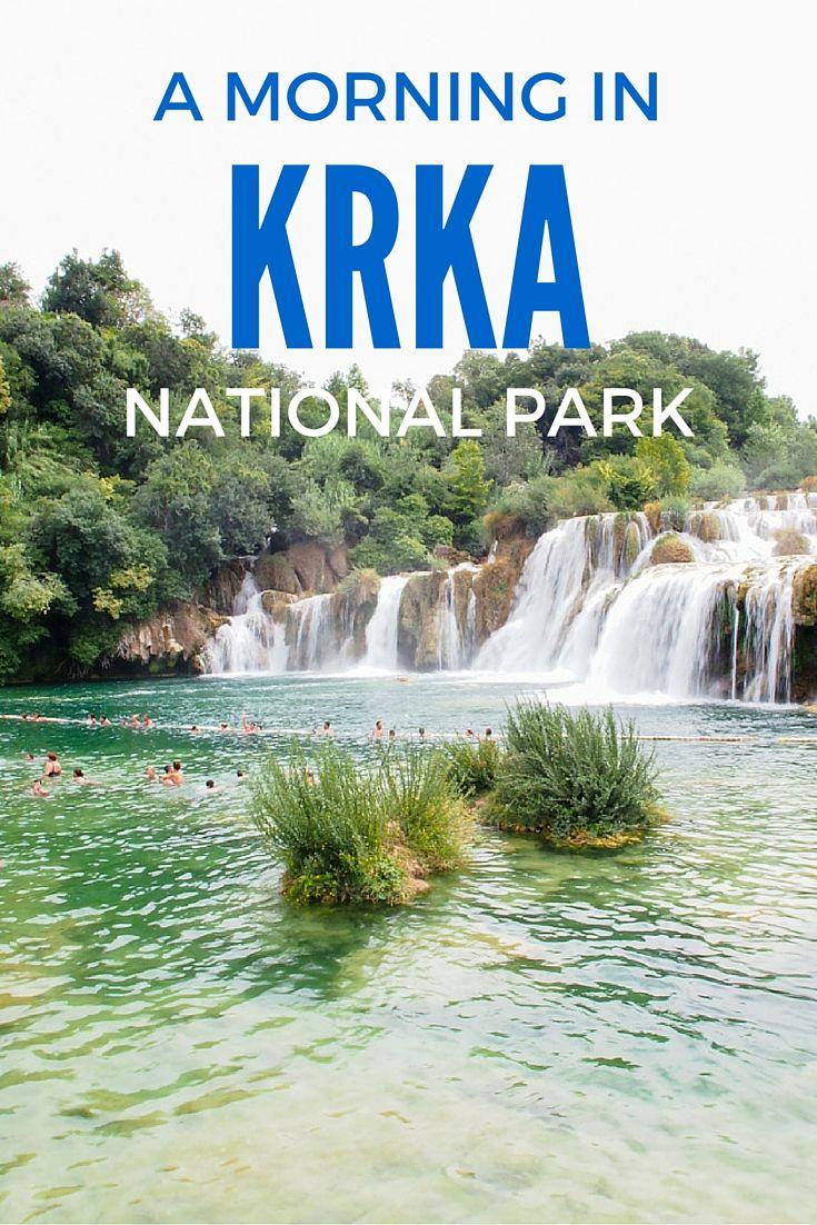 Visiting beautiful waterfalls of Krka National Park in Croatia.