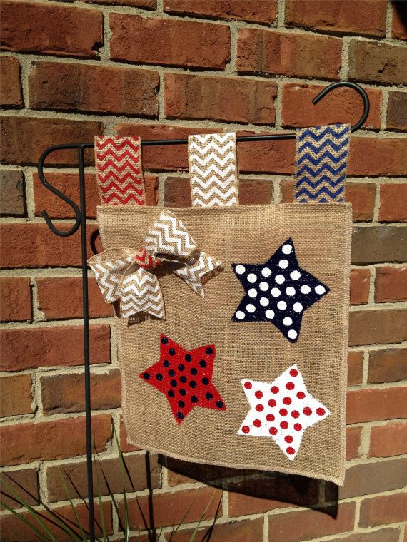 fourth of july burlap garden flag yard flag by