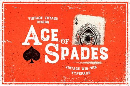 **Ace of Spades** - Combo font with serif uppercase and sans lowercase letters. Made from 100% Real Letterpress process. Win-Win Combination to your Lucky Vintage Result! Really cool for vin...