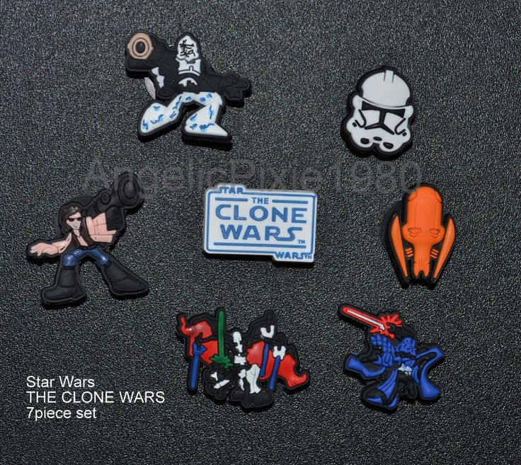 7pc Clone Wars Set of SHOE CHARMS Fits Wristbands & Crocs USA SELLER in Shoe Charms, Jibbitz | eBay