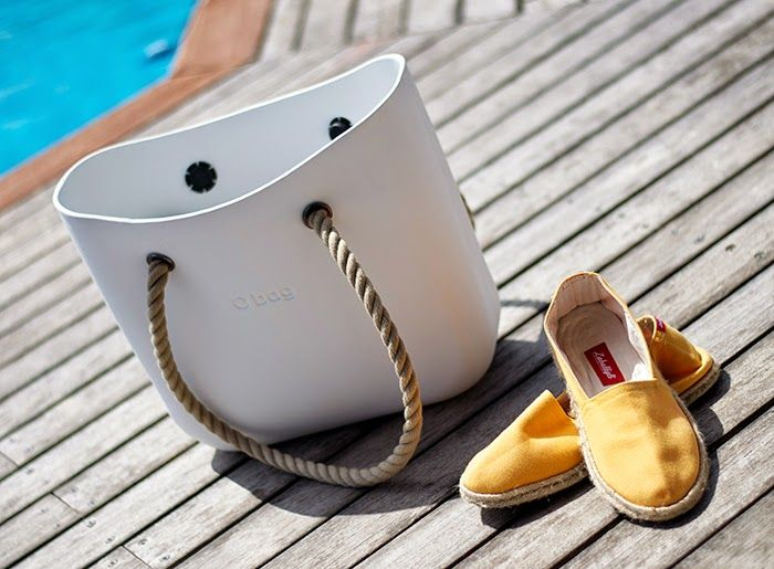 obag manici corda - white beach bag
