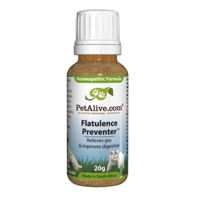 PetAliveFlatulence Preventer ~ Homeopathic remedy for gas buildup to prevent excessive flatulence in dogs or cats by maintaining digestive health.  Addresses foul-smelling gas by maintaining digestive health. Reduces discomfort due to build up of gas in the stomach. Improves the optimum absorption of nutrients. Maintains the balance of intestinal flora in dogs and cats. C$26.95 each. Buy 2 bottles and pay only $23.95 each. Buy 3 or more and pay only $19.95 each.