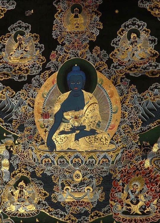 Tibetan Buddhist Thangka of Sangye Menlha (Medicine Buddha)