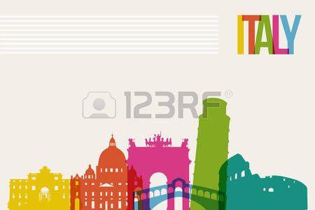 Путешествия Италия знаменитые достопримечательности скайлайн разноцветный дизайн фона photo