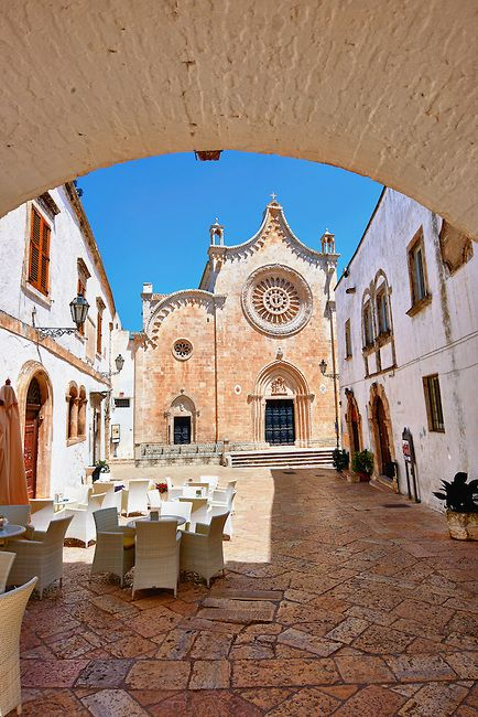 Ostuni, Italy -The Italian Gothic Cathedral of Ostuni built between 1569-1495  .Ostuni, The White Town, Puglia, Italy. www.winewedsandmore.com