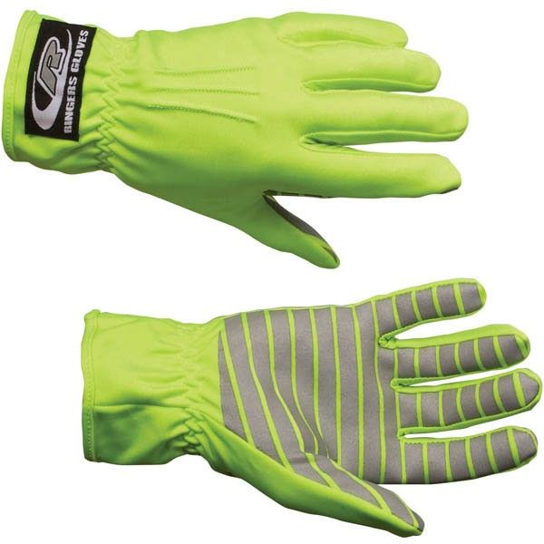 Ringers Gloves Hi-Vis Traffic Control Gloves w/ Reflective Palms, Lime 30710