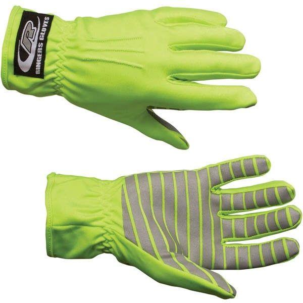 Ringers Gloves Hi-Vis Traffic Control Gloves w/ Reflective Palms, Lime 30710