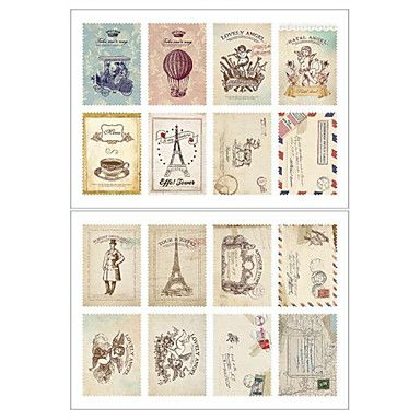 DIY Leikekirja Paper Retro Tower Flower Postimerkit Sisustus tarra – EUR € 5.05