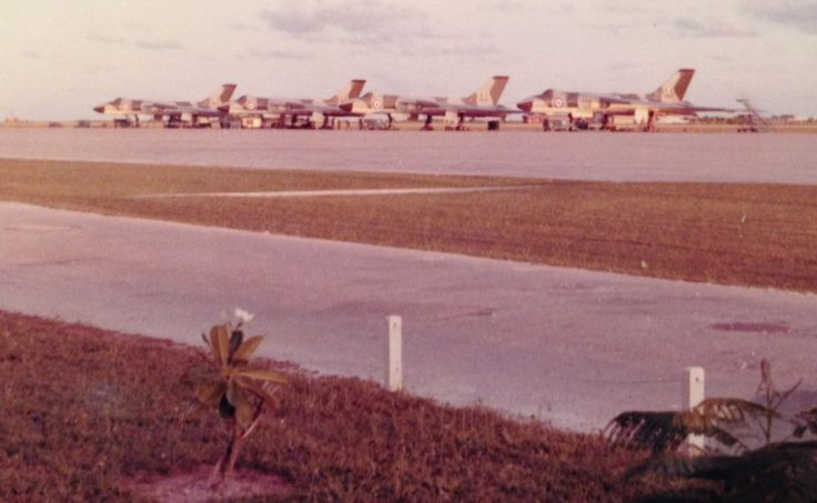 """Vulcan To The Sky - RAF Gan (Maldives) in 1965. Exercise """"Moonflower"""" to Butterworth and Darwin - mainly to show a bit of force capability to Indonesia's President Sukarno and reassure our Malaysian friends."""