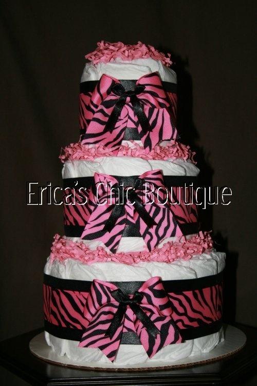 Pink Black Zebra Diaper Cake Baby Girl Shower Gift   eBay