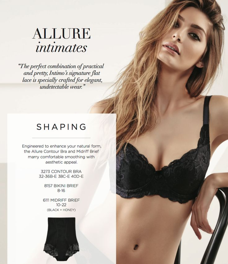 Allure Black Lace Catalogue Spread from Intimo Lingerie's Foundation Look Book.